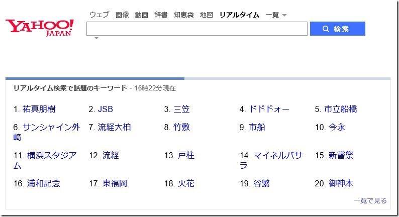 Yahoo!リアルタイムトップ画面